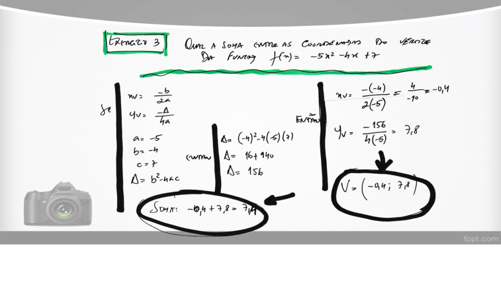 Cálculo das coordenadas do vértice de uma parábola Slide142