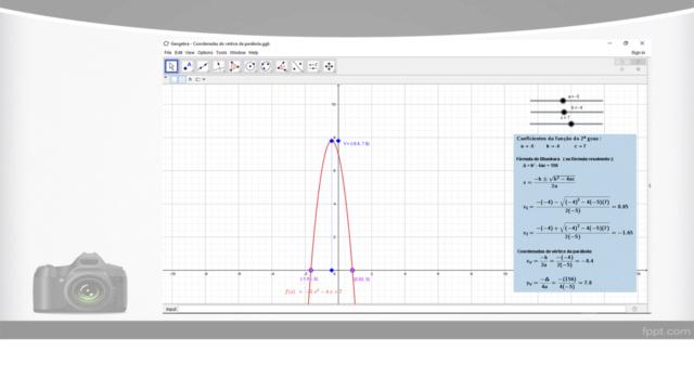 Cálculo das coordenadas do vértice de uma parábola Slide143