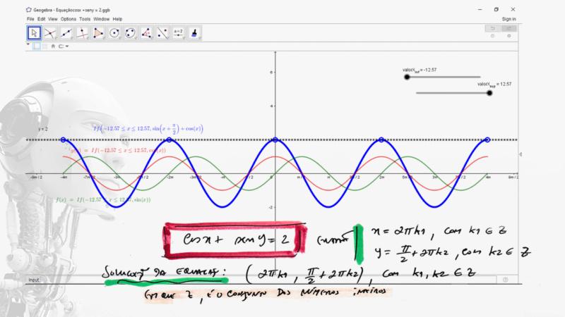 Resolver a equação cosx + seny = 2 Slide152