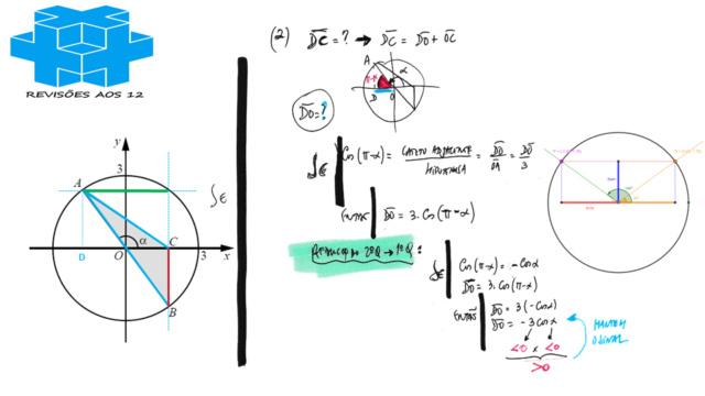 área triângulo obtusângulo c/ 2 vértices numa circunf. Slide262