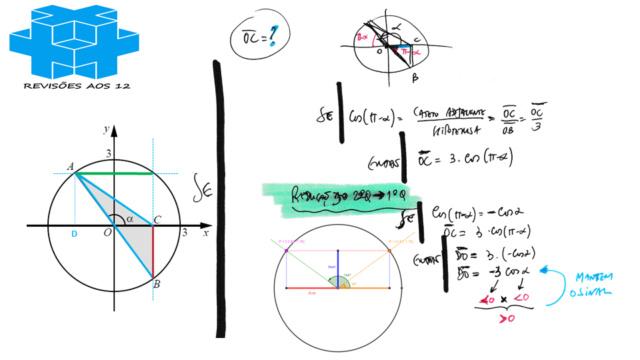 área triângulo obtusângulo c/ 2 vértices numa circunf. Slide263