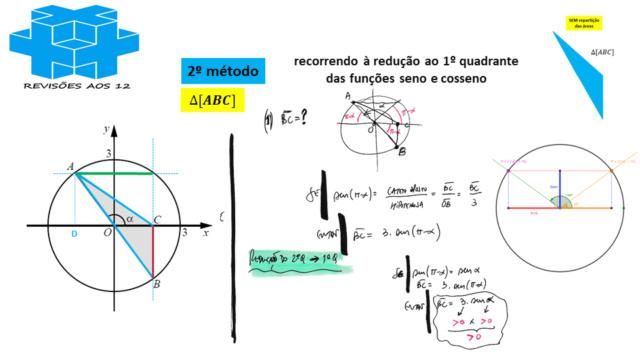 área triângulo obtusângulo c/ 2 vértices numa circunf. Slide264
