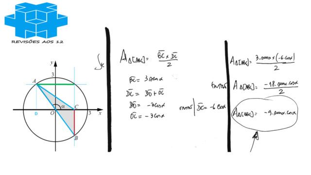 área triângulo obtusângulo c/ 2 vértices numa circunf. Slide265