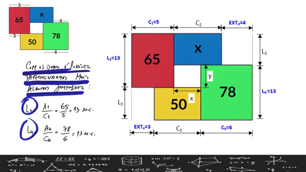 Puzzle geométrico - quadrilátero dividido em outros 4 Slide412