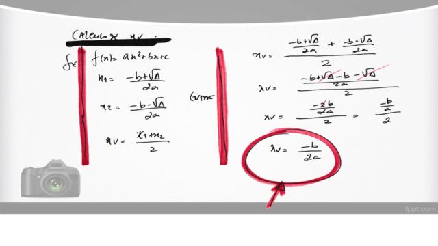 Cálculo das coordenadas do vértice de uma parábola Slide514