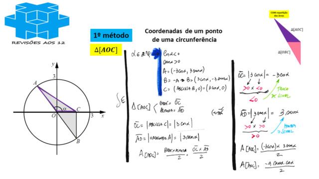 área triângulo obtusângulo c/ 2 vértices numa circunf. Slide634