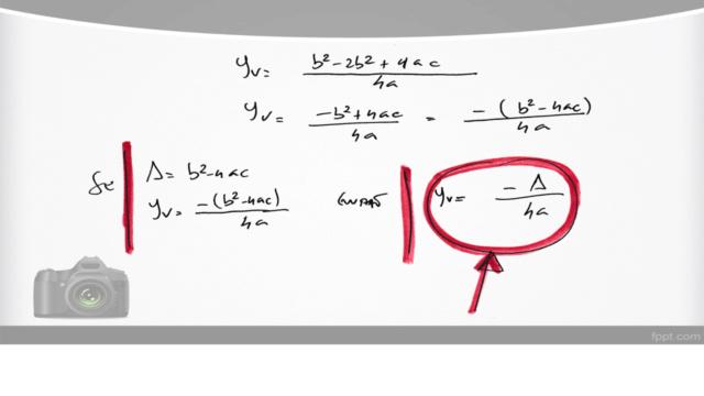 Cálculo das coordenadas do vértice de uma parábola Slide712
