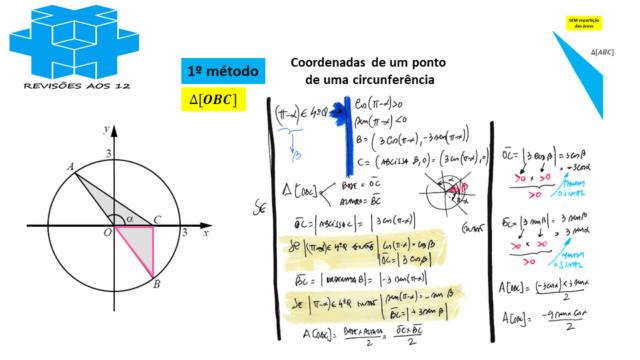 área triângulo obtusângulo c/ 2 vértices numa circunf. Slide725