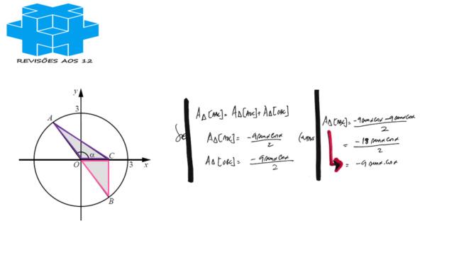 área triângulo obtusângulo c/ 2 vértices numa circunf. Slide822