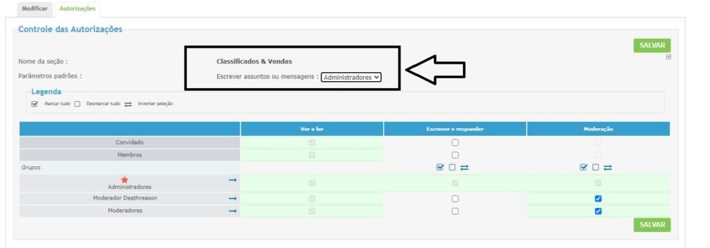 """Retirar o fórum """"Classificados"""" e ter acesso ao mesmo mais tarde Autori10"""