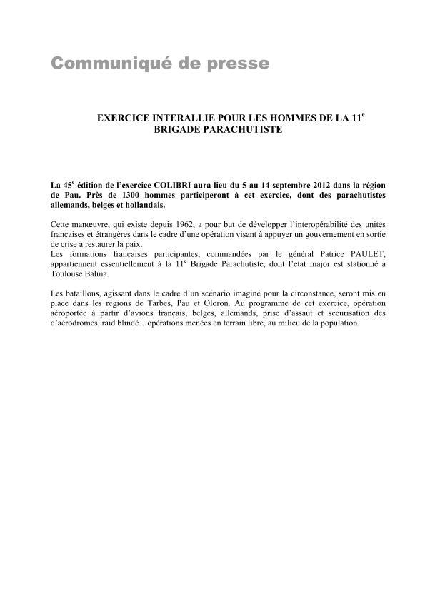 11ème Brigade Parachutiste - Exercice Interalliés COLIBRI septembre 2012 2012_016