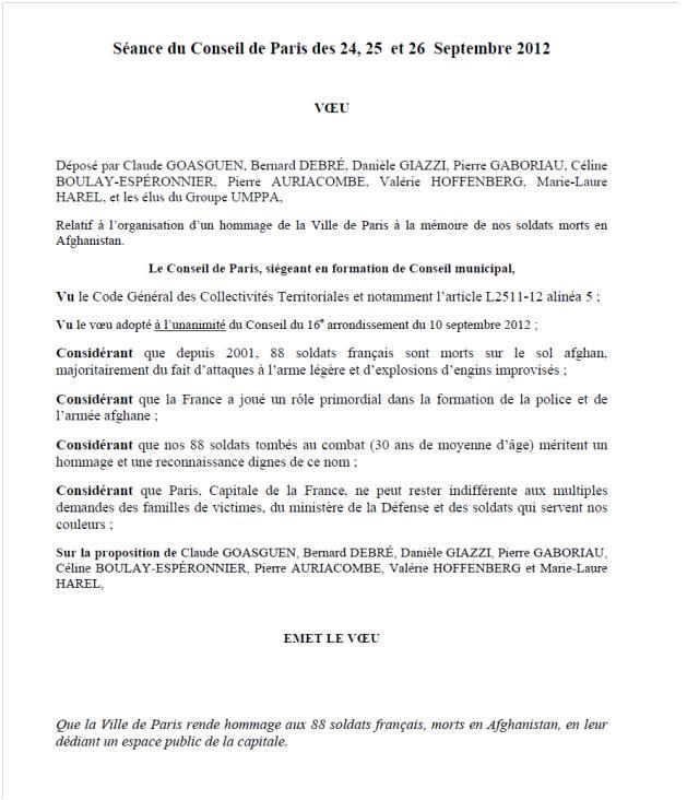 """Le Conseil de Paris refuse de """"dédier un espace public"""" aux militaires français tués en Afghanistan  Consei10"""