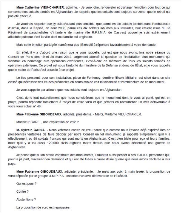 """Le Conseil de Paris refuse de """"dédier un espace public"""" aux militaires français tués en Afghanistan  Consei11"""