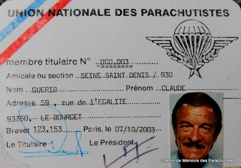 GUERIB Claude brevet parachutiste n°123153 - carte UNP n°000 003 avec le colonel Trinquier Img_4422