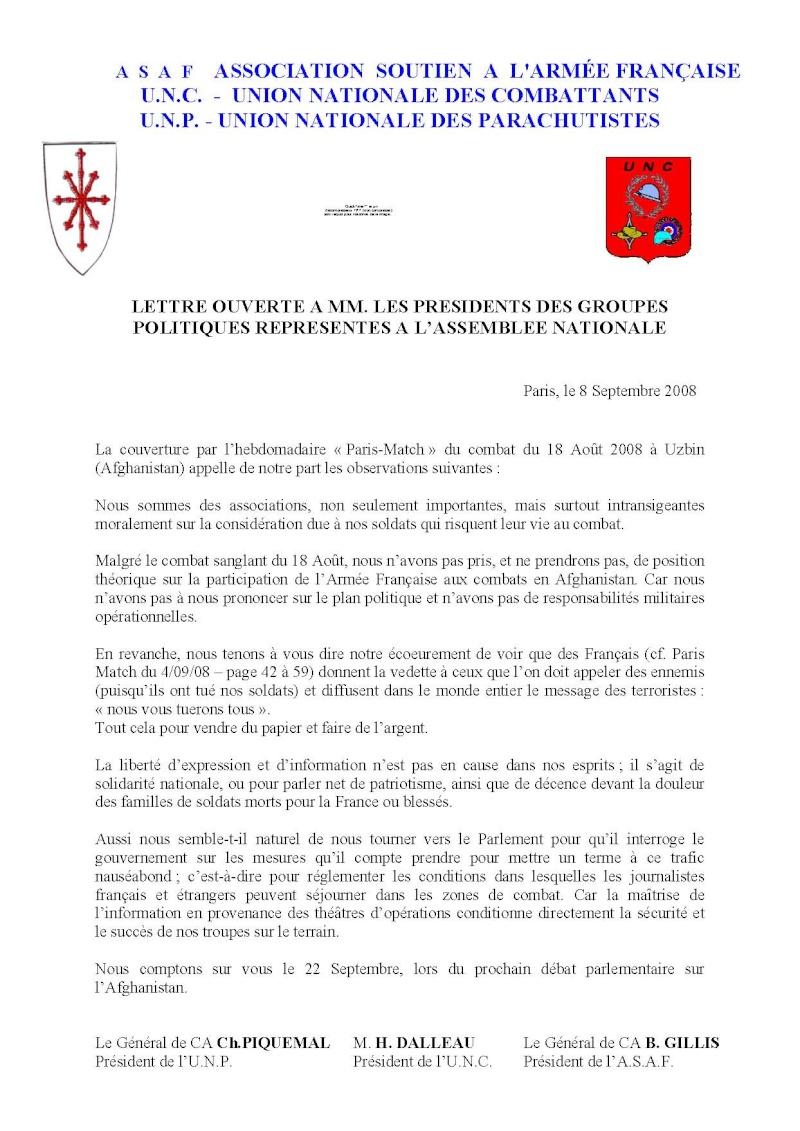 PIQUEMAL Christian général - GILLIS Bernard général - ecoeurement reportage torchon PARIS-MATCH embuscade Usbin du 18 août 2008 Afghanistan Lettre11