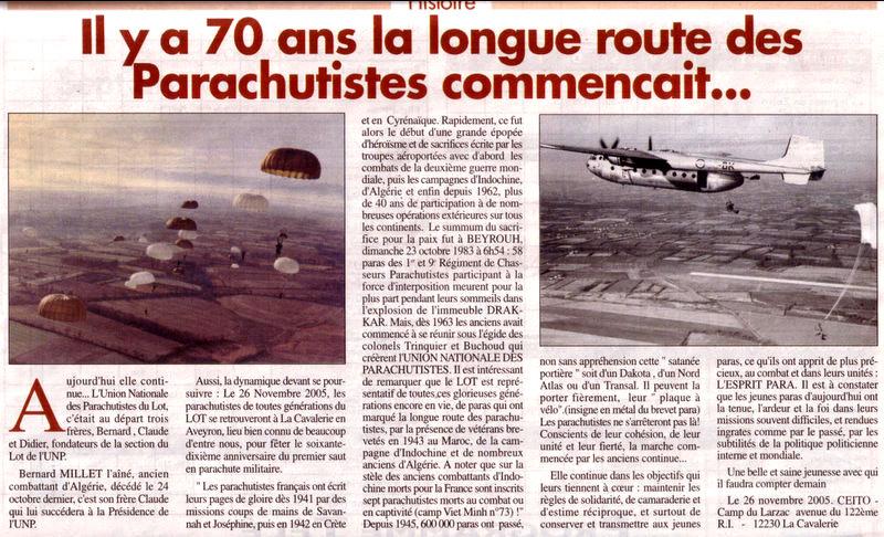 """EOR Bernard MILLET: """"parachuté"""" au 9e RCP, puis Cherchell, puis le 14e RCP, mais... Sem_du10"""
