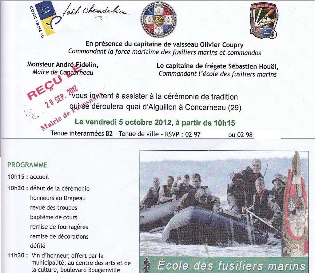 Reportage cérémonie de tradition Ecole des fusiliers à Concarneau Invit11