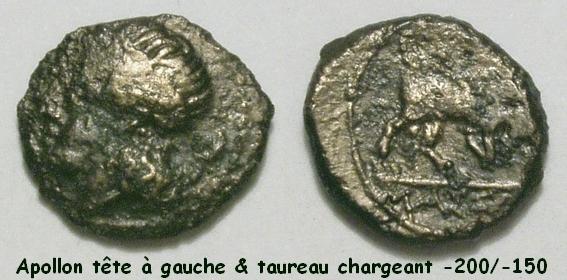 Très rare portrait d'Apollon à gauche avec un taureau chargeant à droite ! Apollo11
