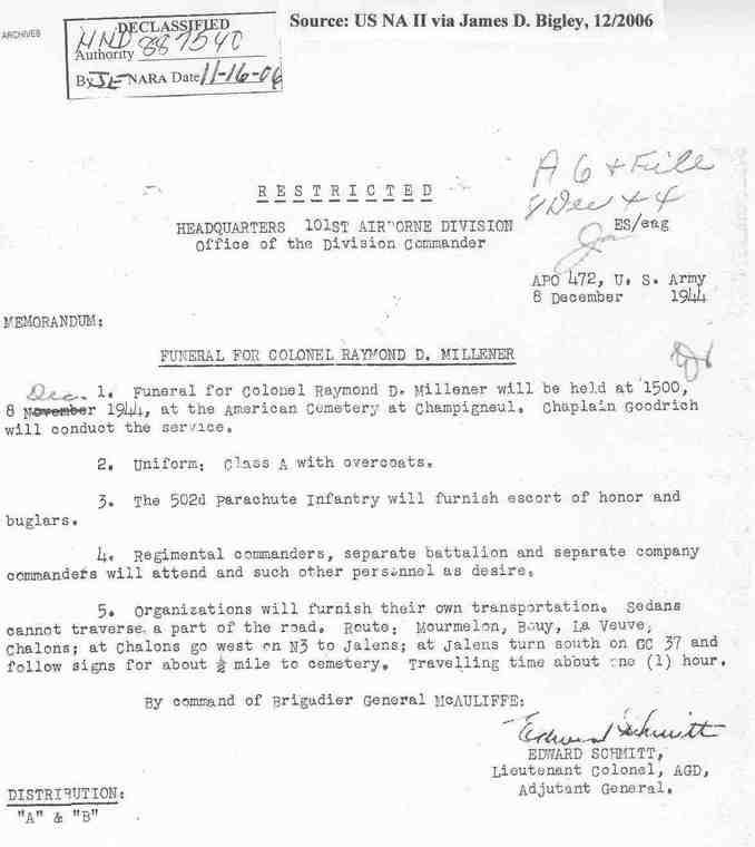 """Raymond """"Bud"""" Millener, G-3 101st Airborne, suicidé.... Millen10"""