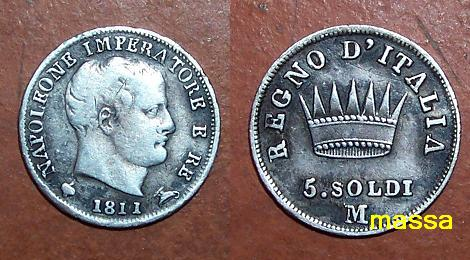 Reino de Italia, Milano, 5 soldi de Napoleon, 1811. Soldi10