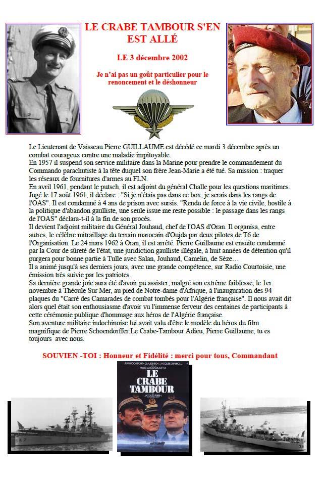 GUILLAUME Pierre Lieutenant de Vaisseau Hommage au Crabe Tambour Homme de conviction 1_foru12