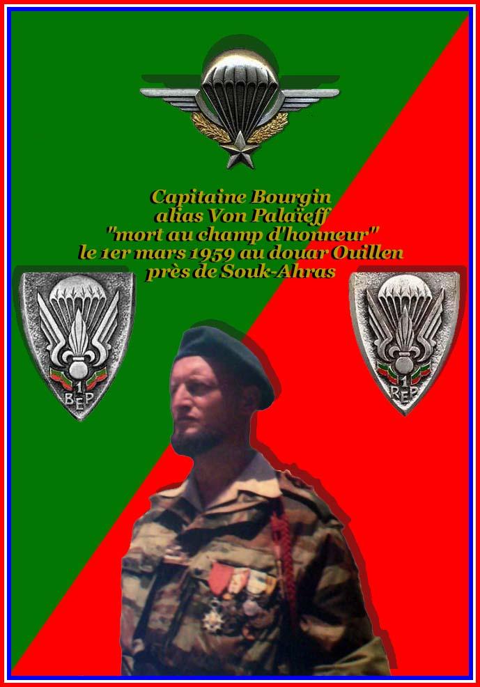 BOURGIN Pierre-Eugène -capitaine - mort au camp d'honneur le 1er mars 1959 au douar Ouillen 1plaqu13
