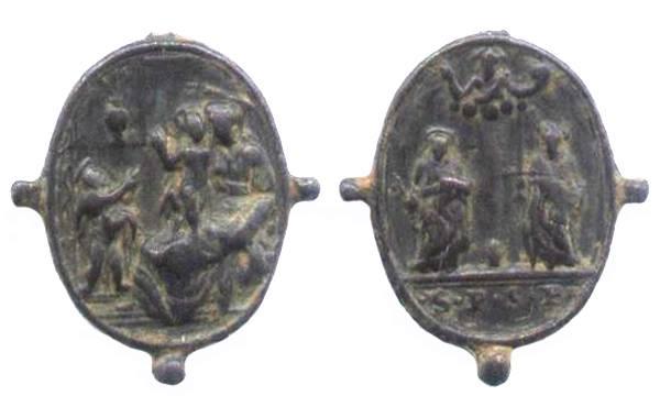 Médaille A l'avers, saint Pierre et saint Paul, surmonté de Dieu le Père.revers représentation de la vierge Marie avec enfant jésus dans un sanctuaire XVIIéme 35548010