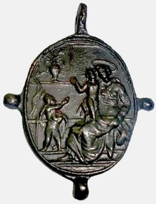 Médaille A l'avers, saint Pierre et saint Paul, surmonté de Dieu le Père.revers représentation de la vierge Marie avec enfant jésus dans un sanctuaire XVIIéme 35644610