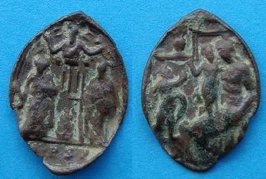 Médaille A l'avers, saint Pierre et saint Paul, surmonté de Dieu le Père.revers représentation de la vierge Marie avec enfant jésus dans un sanctuaire XVIIéme Photo_10