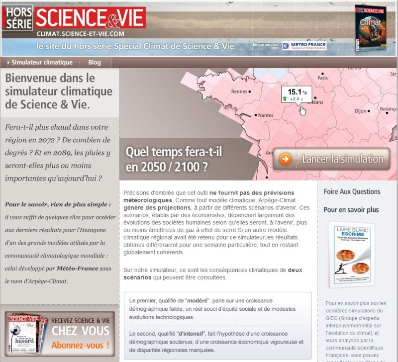 Simulation de l'évolution du climat en France Simula10