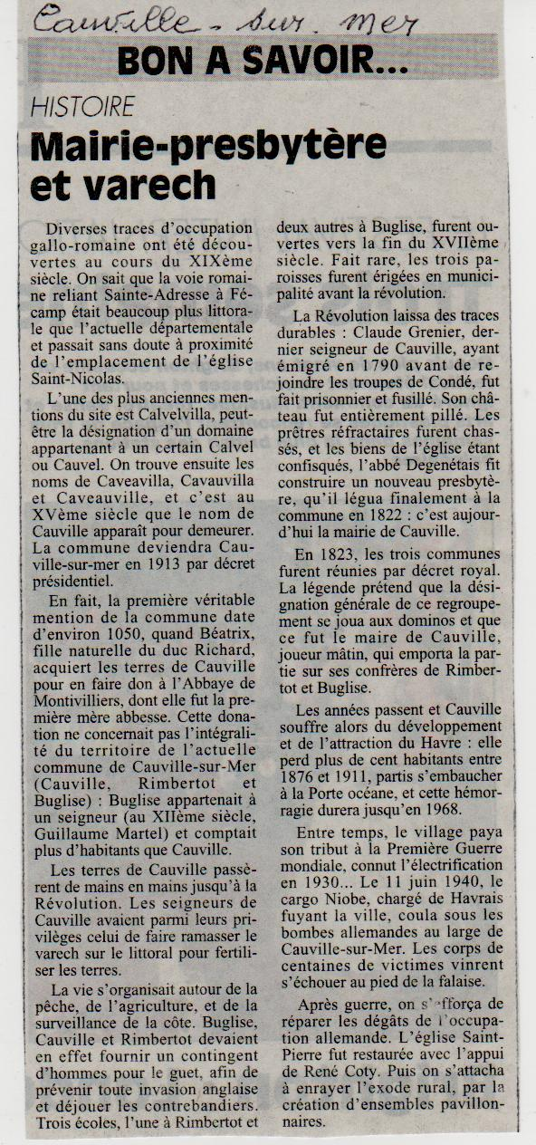 Histoire des communes - Cauville-sur-Mer Cauvil10