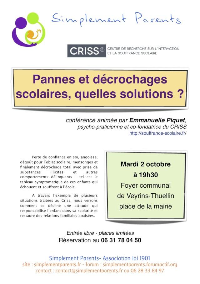 """Conférence du CRISS """"Pannes et décrochages scolaires, quelles solutions?"""" Confer13"""