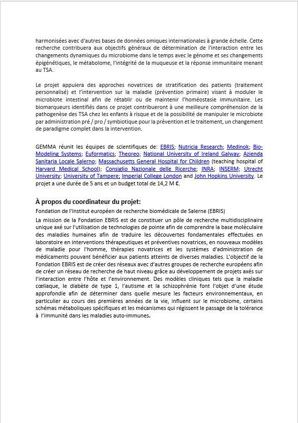 LE PROJET GEMMA: microbiote, nutrition,environnement  43492810