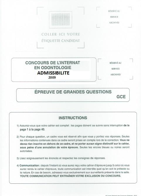 internat - Annales Concours D'Admission Internat  1111