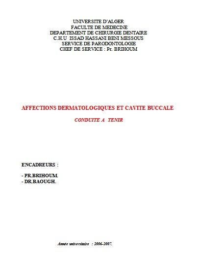 buccale - AFFECTIONS DERMATOLOGIQUES ET CAVITE BUCCALE : conduite à tenir  55572310