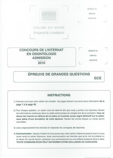 Annales - Annales Concours D'Admission Internat  Az10