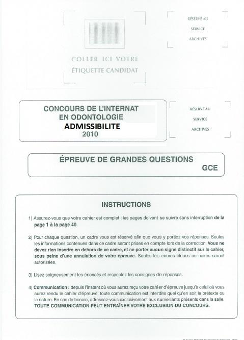 internat - Annales Concours D'Admission Internat  Ss10