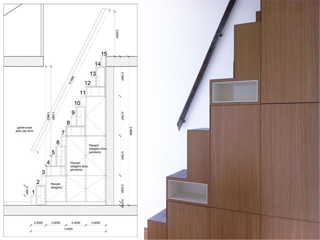 Escalier japonais à pas décalés Escali16