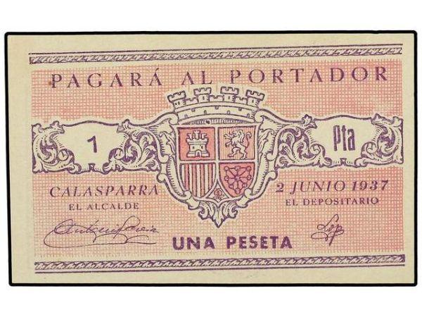 Billetes del Ayuntamiento de Calasparra (Murcia). Guerra Civil 1154