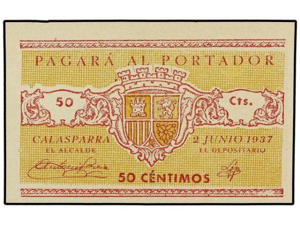 Billetes del Ayuntamiento de Calasparra (Murcia). Guerra Civil 1155