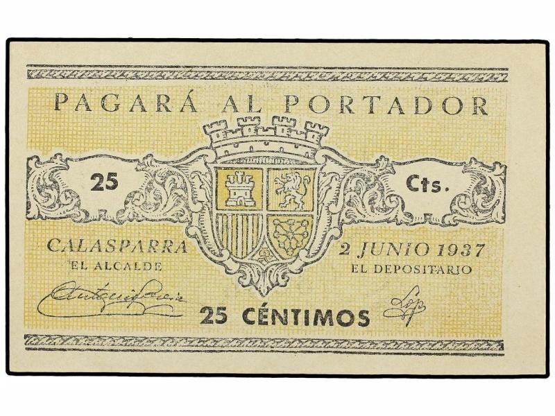 Billetes del Ayuntamiento de Calasparra (Murcia). Guerra Civil 1156
