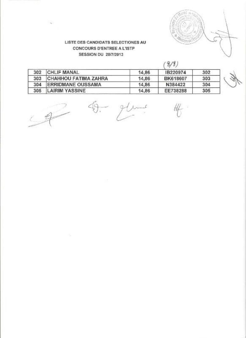 نتائج انتقاء مباراة ولوج المعهد المتخصص في الاشغال العمومية مراكش للموسم 2013 -2014 Image212