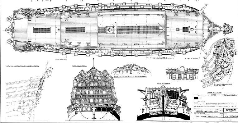 royal - costruzione H.M.S. ROYAL WILLIAM 1719 1:72 EUROMODEL Royal110
