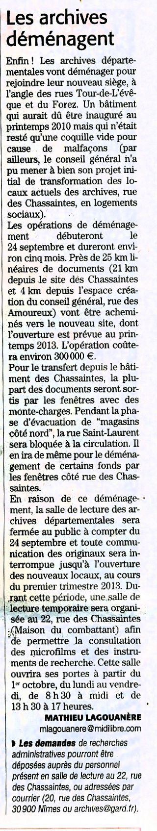 Déménagement des Archives Départementales du Gard AD30 Demen14