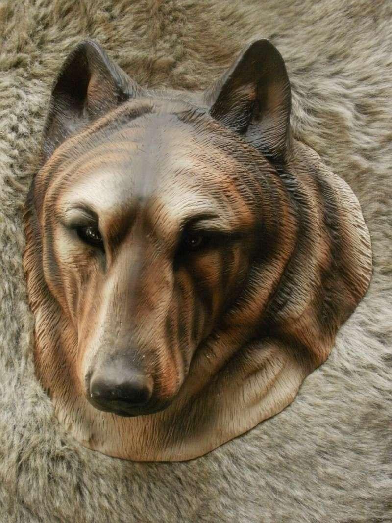 déco murale loup en terre cuite Pb280112