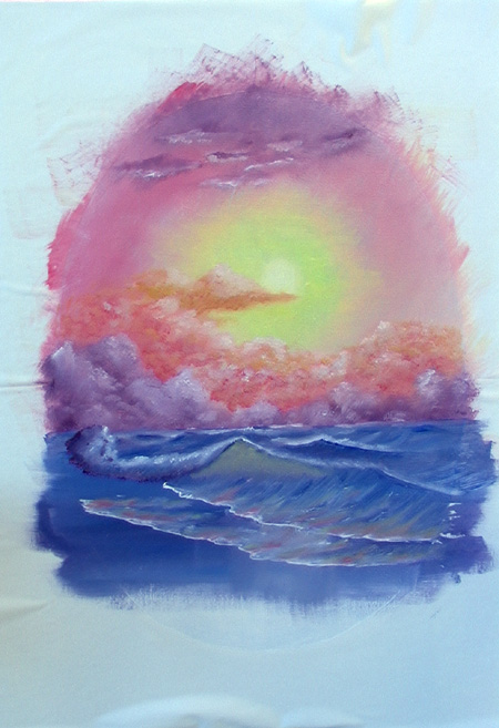 Seascape with Cobras Pastel11