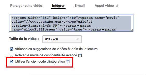 Impossible d'intégrer des vidéos youtube A10