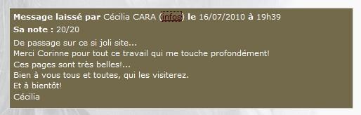 Message de Cécilia sur le livre d'or du site  Cclire10