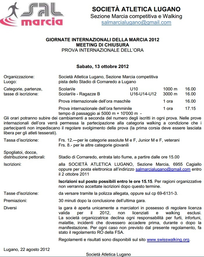 Lugano (CH): 1h, 10000m, 5000m: 13 octobre 2012 Lugano10