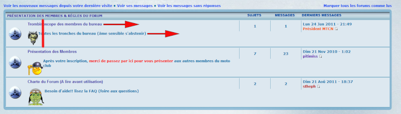 Alignement  texte & icônes dans les catégories forums Liens110